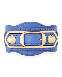 Balenciaga Metallic Edge Leather Belt Style Bracelet Bleu Bleuet