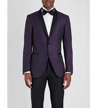 Corneliani Slim Fit Wool And Silk Blend Jacket Purple