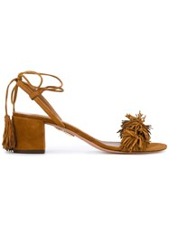 Aquazzura Wild Thing Block Heel Sandals Brown