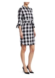 Saks Fifth Avenue Collection Checked Shirt Dress Empire Gingham Black Combo
