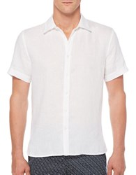 Perry Ellis Solid Linen Short Sleeve Shirt Bright White