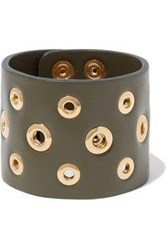 Red Valentino Eyelet Embellished Leather Cuff Army Green