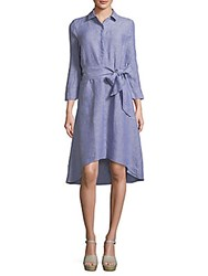 Saks Fifth Avenue Hi Lo Linen Shirtdress Marlin Blue