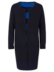 Oui Longline Stripe Cardigan Dark Blue