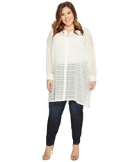 Vince Camuto Specialty Size Plus Long Sleeve Button Down Sheer Embroidered Stripe Tunic New Ivory Women's Blouse Bone