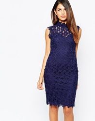Paper Dolls High Neck Pencil Dress In Crochet Lace Navy