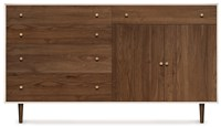 Copeland Furniture Mimo Bedroom 4 Drawers On Left 1 Drawer Over 2 Doors On Right Dresser Bronze Legs White Brown
