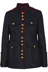 Burberry Prorsum Cotton And Silk Blend Gabardine Jacket Navy