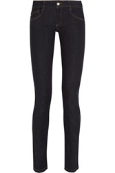 Mcq By Alexander Mcqueen Embroidered Low Rise Skinny Jeans Blue