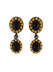 Givenchy Dropped Gemstone Earrings Black