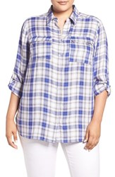 Vince Camuto Plus Size Women's Two By 'Canyon Plaid' Utility Shirt Optic Blue