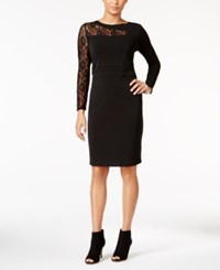 Thalia Sodi Lace Detail Sheath Dress Only At Macy's Deep Black
