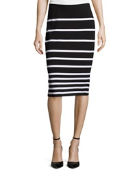 Chelsea And Theodore Knit Striped Pencil Skirt Blk Wht