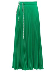 Christopher Kane Crystal Cup Chain Pleated Skirt Green