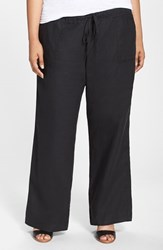 Plus Size Women's Allen Allen Drawstring Linen Pants Black