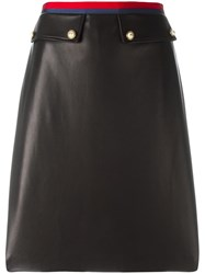 Gucci Leather A Line Skirt Black