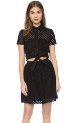 Cynthia Rowley Shirt Dress With Knot Tie Black