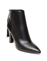 Brian Atwood Rakie Leather Tassel Trim Ankle Boots Black