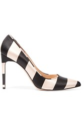 Bionda Castana Daphne Striped Satin Pumps Black