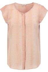 Joie Iva Snake Print Washed Silk Top Blush