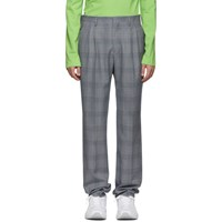 Calvin Klein 205W39nyc White And Navy Glen Plaid Trousers