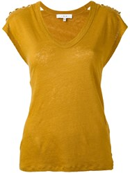 Iro Scoop Neck T Shirt Women Linen Flax Xs Yellow Orange