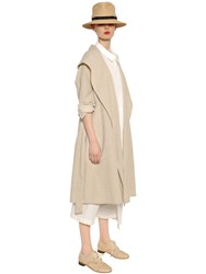 Y's Cotton And Linen Canvas Trench Coat