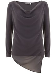 Mint Velvet Steel Asymmetric Double Layer Tee Grey