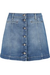 7 For All Mankind Stretch Denim Mini Skirt Light Denim
