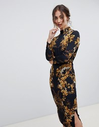 Hope And Ivy Long Sleeve Pencil Dress In Mirrored Floral Print Black Print Multi