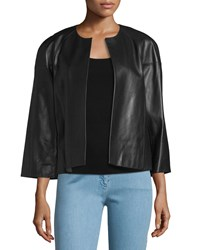 Michael Kors Cookie Open Front Leather Jacket Black Women's