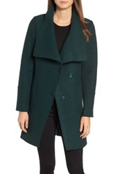 Halogen Boiled Wool Blend Asymmetrical Coat Evergreen