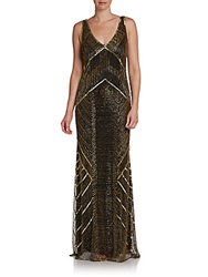 Theia Art Deco Beaded Gown Gold