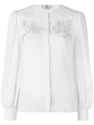 Fendi Floral Embroidered Shirt Nude Neutrals