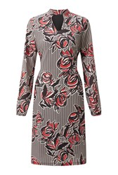 James Lakeland Printed V Neck Dress Red