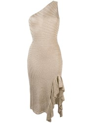 Just Cavalli Fitted One Shoulder Dress Gold
