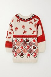 Loewe Oversized Embroidered Intarsia Wool Blend Sweater White