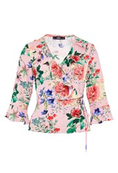 Hallhuber Wrap Blouse With Floral Print Multi Coloured Multi Coloured