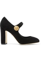 Dolce And Gabbana Embellished Suede Mary Jane Pumps Black