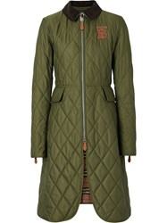 Burberry Monogram Motif Quilted Riding Coat Green