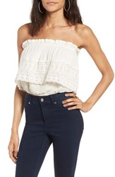 Sun And Shadow Women's Lace Popover Tube Top Ivory Egret