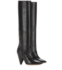Isabel Marant Laith Leather Knee High Boots Black