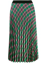 Moncler Plaid Pleated Skirt Green