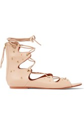 Iro Xiri Studded Leather Lace Up Sandals Beige