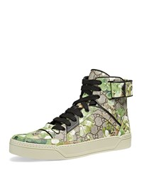 Gucci Blooms Printed Canvas High Top Sneaker Multi Size 11.5G 12.5Us