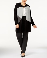 Charter Club Plus Size Colorblocked Duster Cardigan Created For Macy's Deep Black Combo