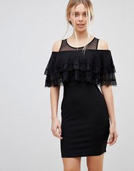 Girls On Film Cold Shoulder Midi Dress With Tipped Frill Black