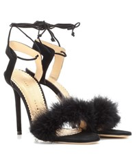 Charlotte Olympia Salsa 110 Feather Trimmed Suede Sandals Black