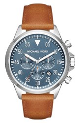 Michael Michael Kors Men's 'Gage' Chronograph Leather Strap Watch 45Mm