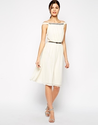 Elise Ryan Embellished Bardot Neck Midi Prom Dress Cream